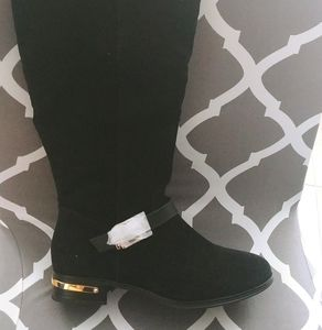 NEW! FAUX SUEDE WIDE LEG KNEE-HIGH FLAT BOOTS